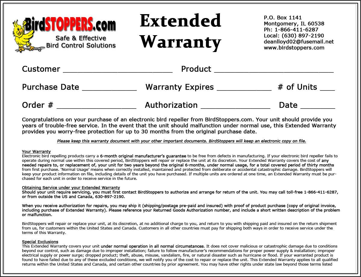 Warranty For Electronic Bird Repellers Birdstoppers Com